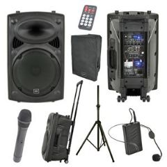 QTX QR15PA Battery Powered PA Speaker + Handheld + Headset Mics + Stand + Cover
